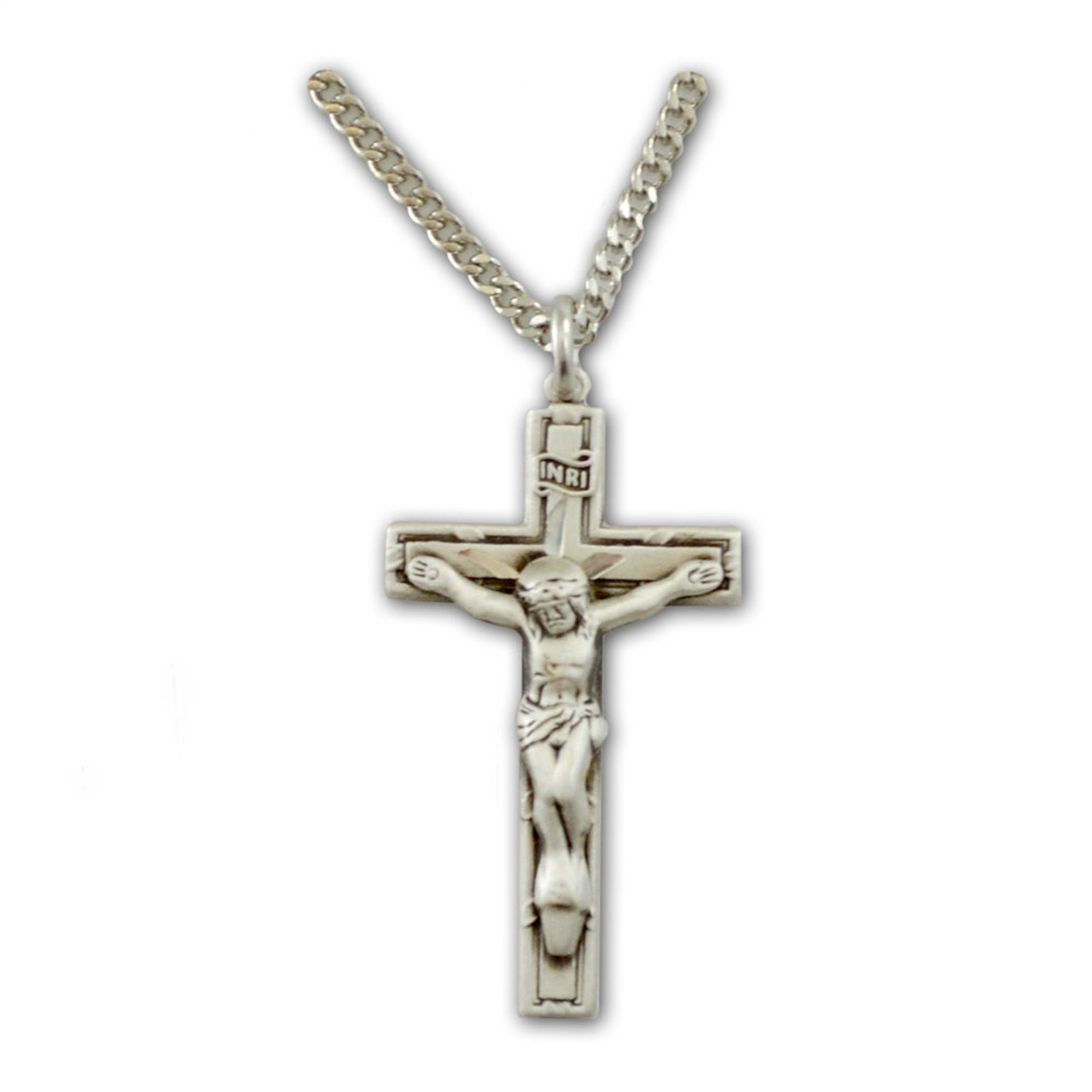 "Sterling Crucifix Pendant for Boy 18"" Rhodium Plated Chain"