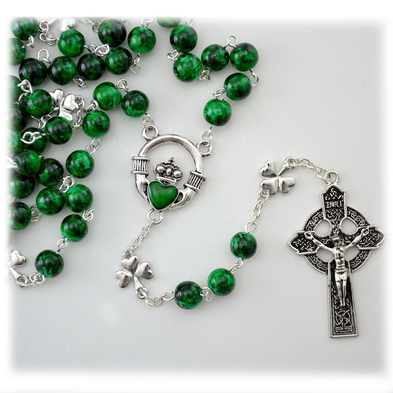 Claddagh Rosary Green Beads