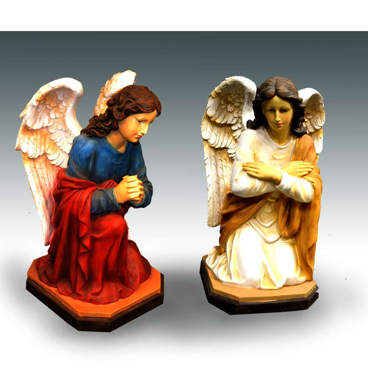 "20"" Kneeling Angel Set/ Color Fiberglass"