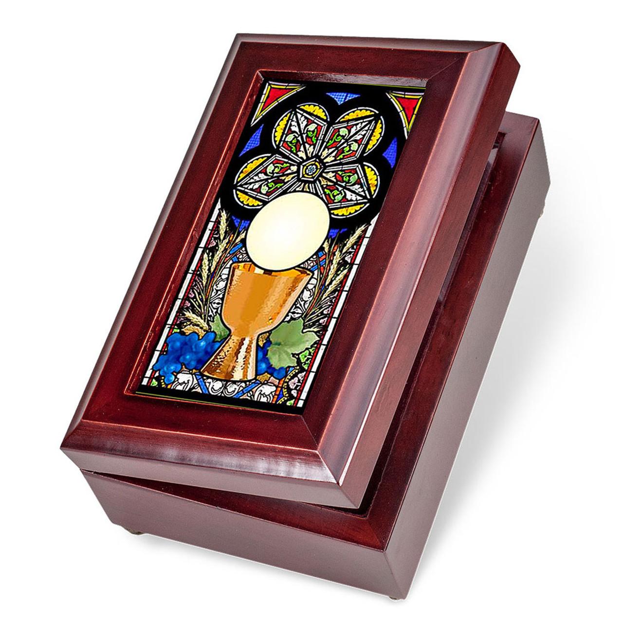 First Communion Mahogany Music Box