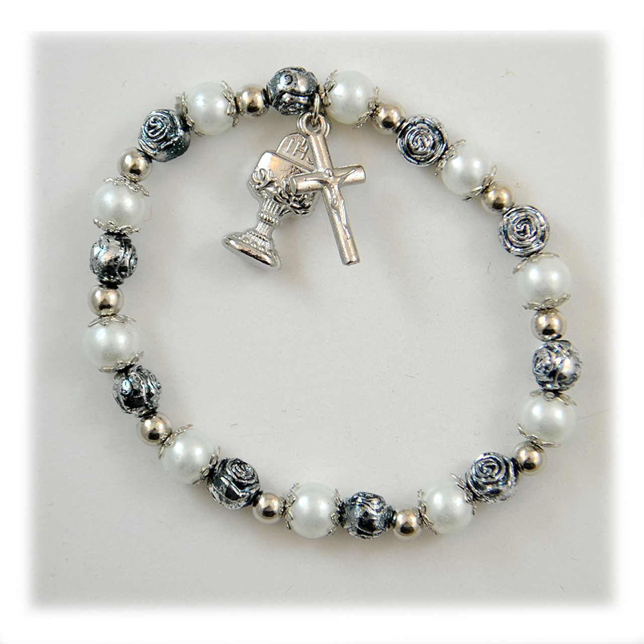 Communion Pearl & Bead Bracelet