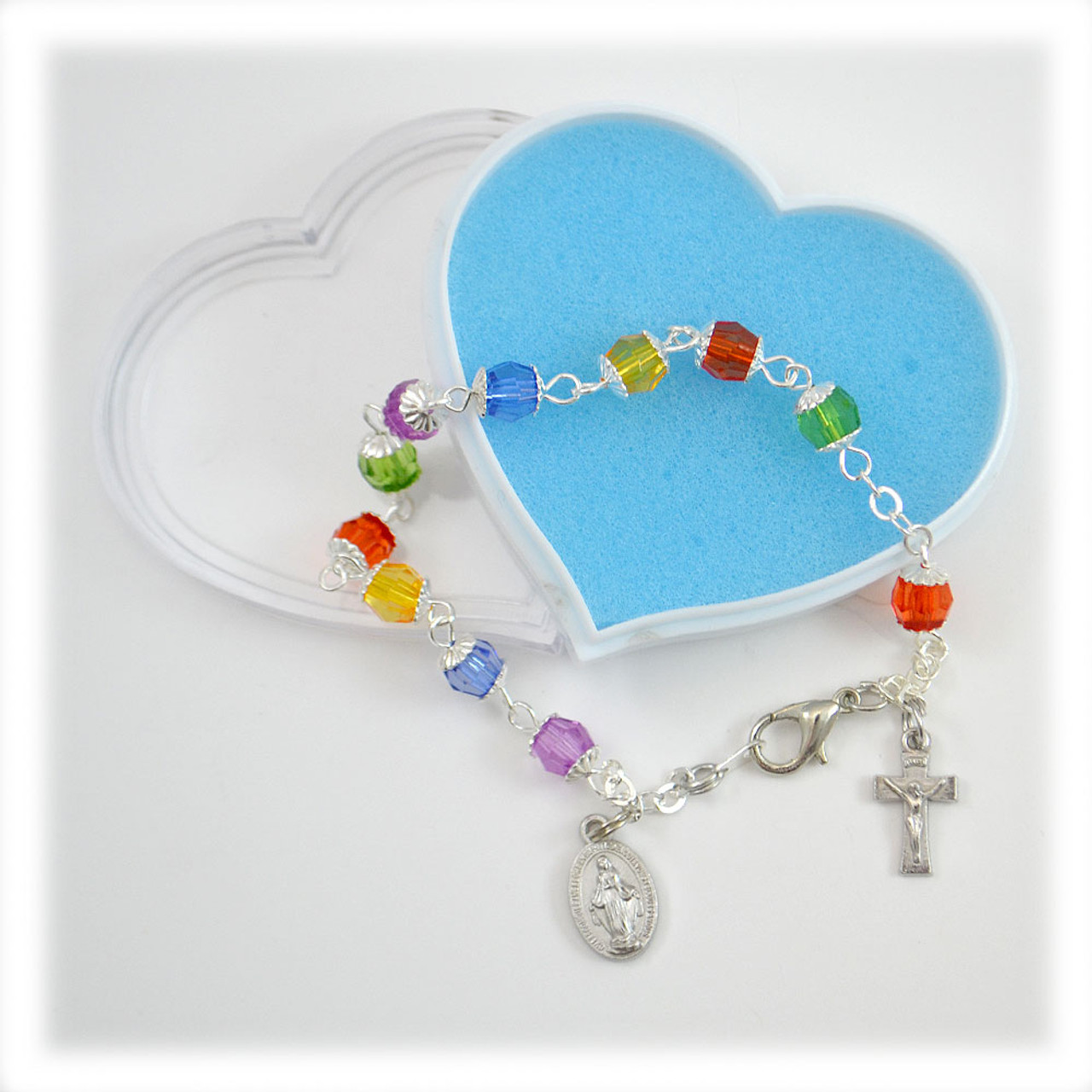 Multi Colored Glass Rosry Bracelet Heart Box