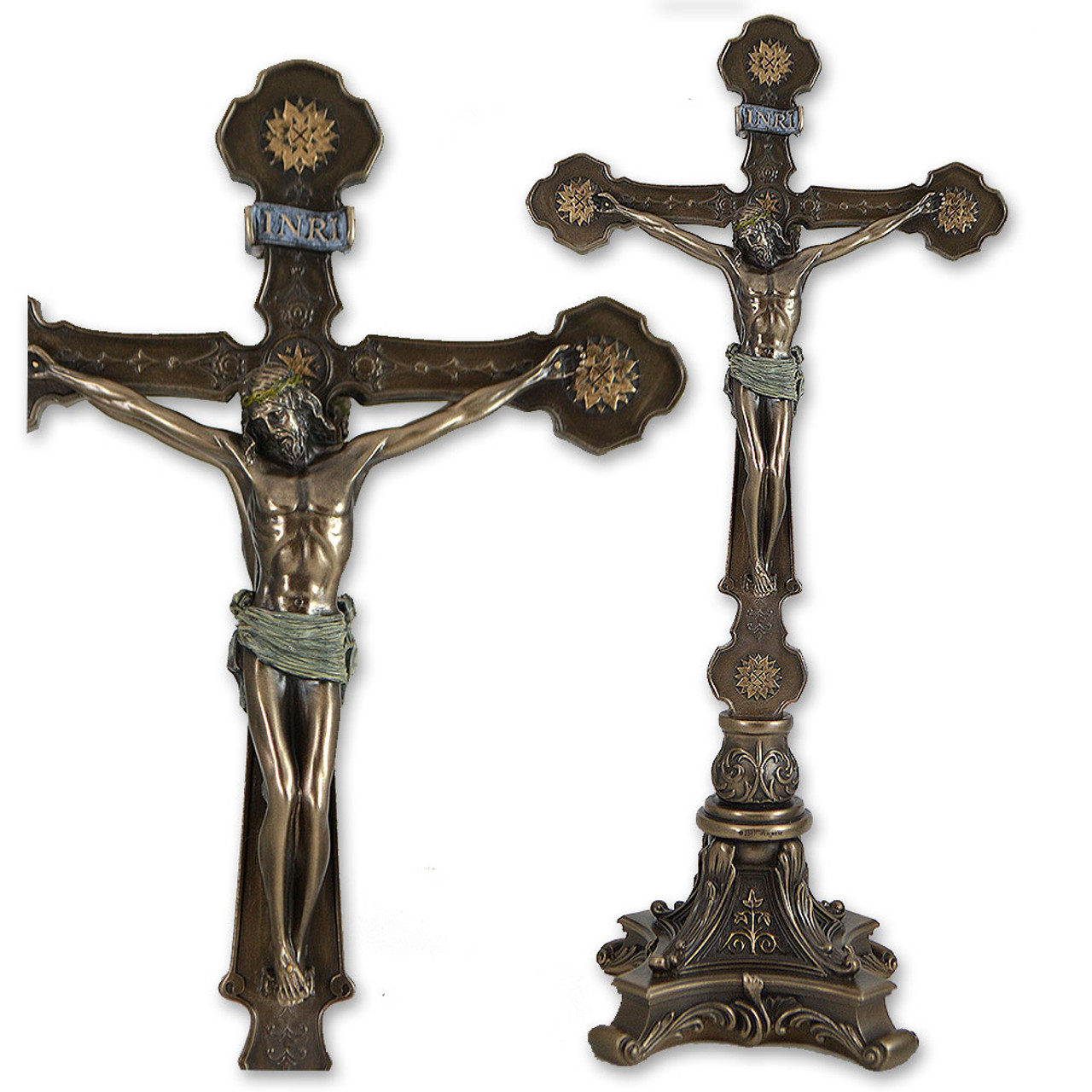 Standing Double Sided Crucifix 12.5IN