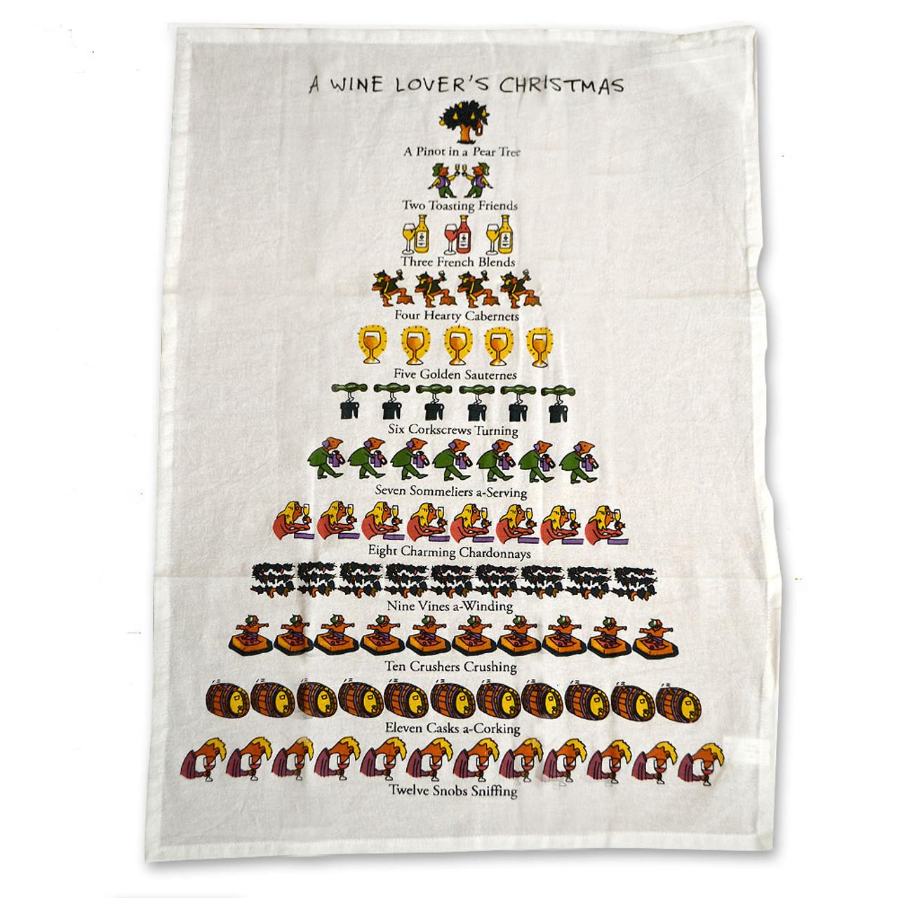 12 Days of Christmas Wine Towel