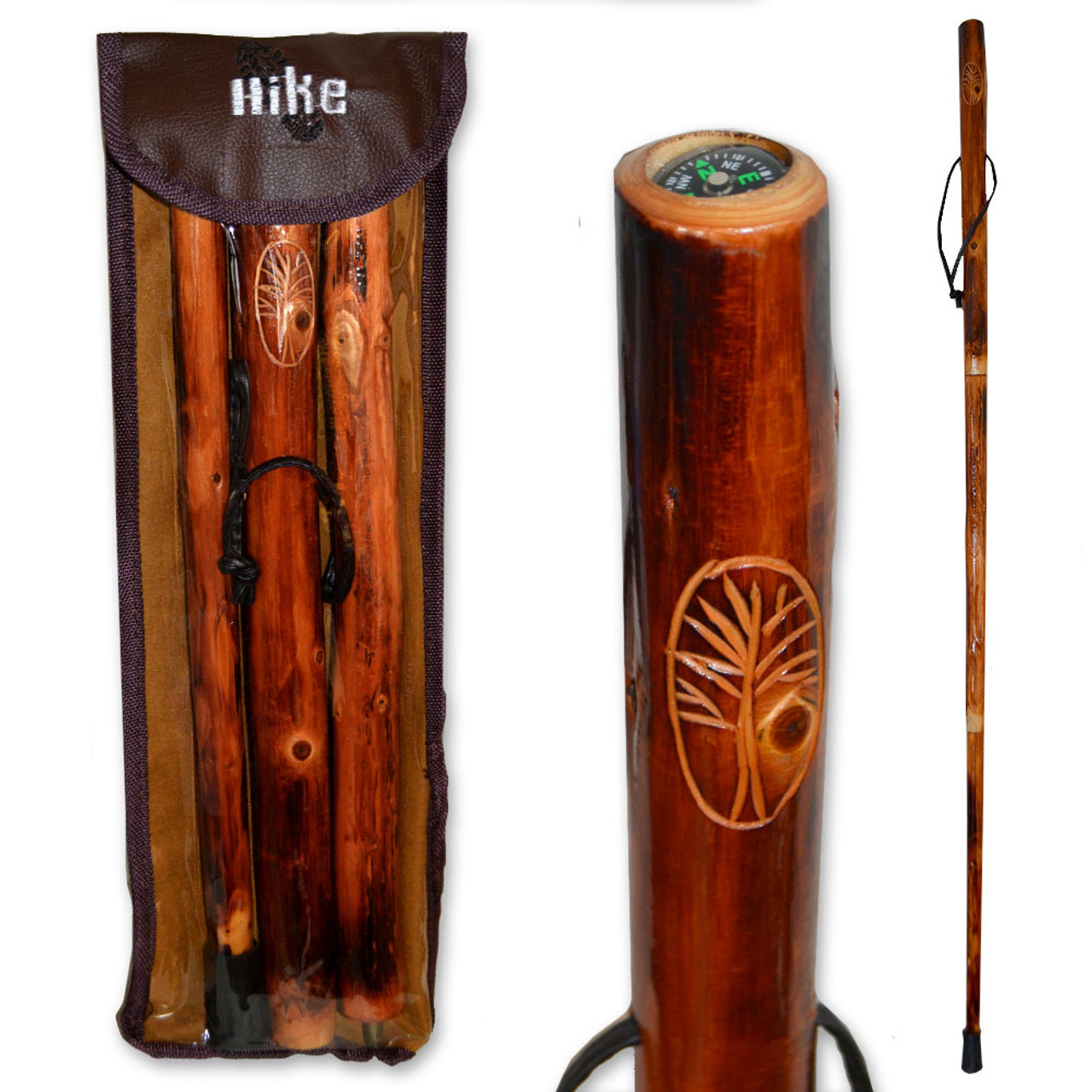 Walking Stick with Compass & Travel Pouch