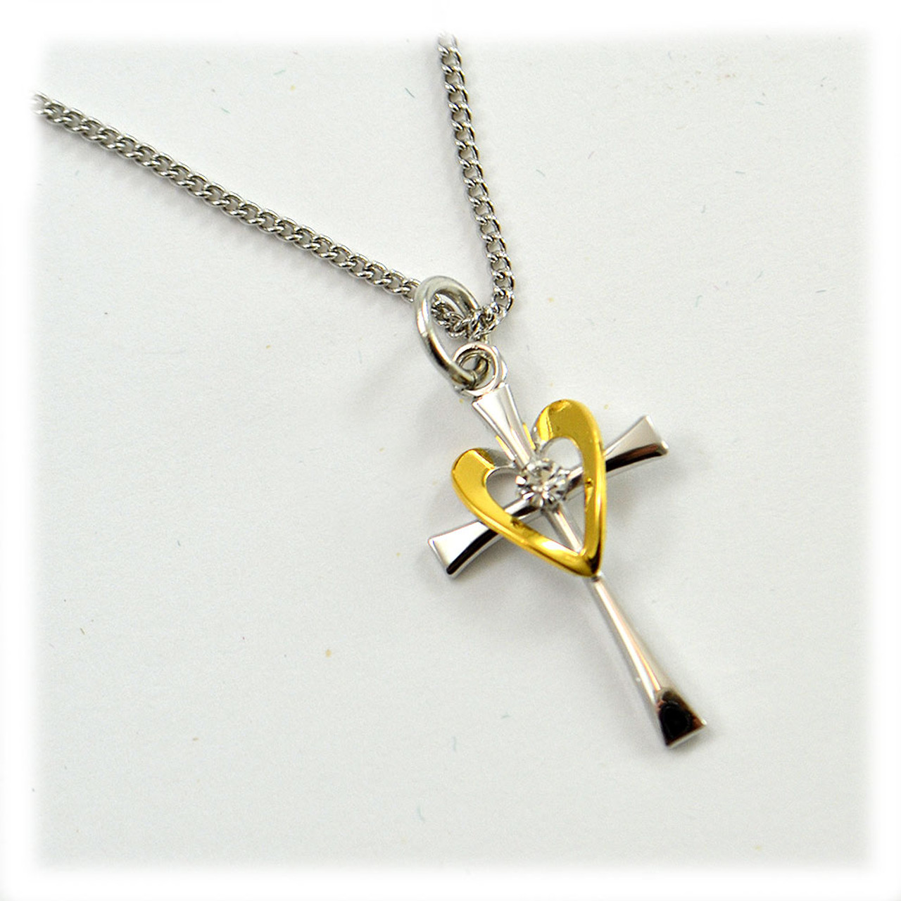 SS Cross with Gold Heart Pendant 18IN Chain