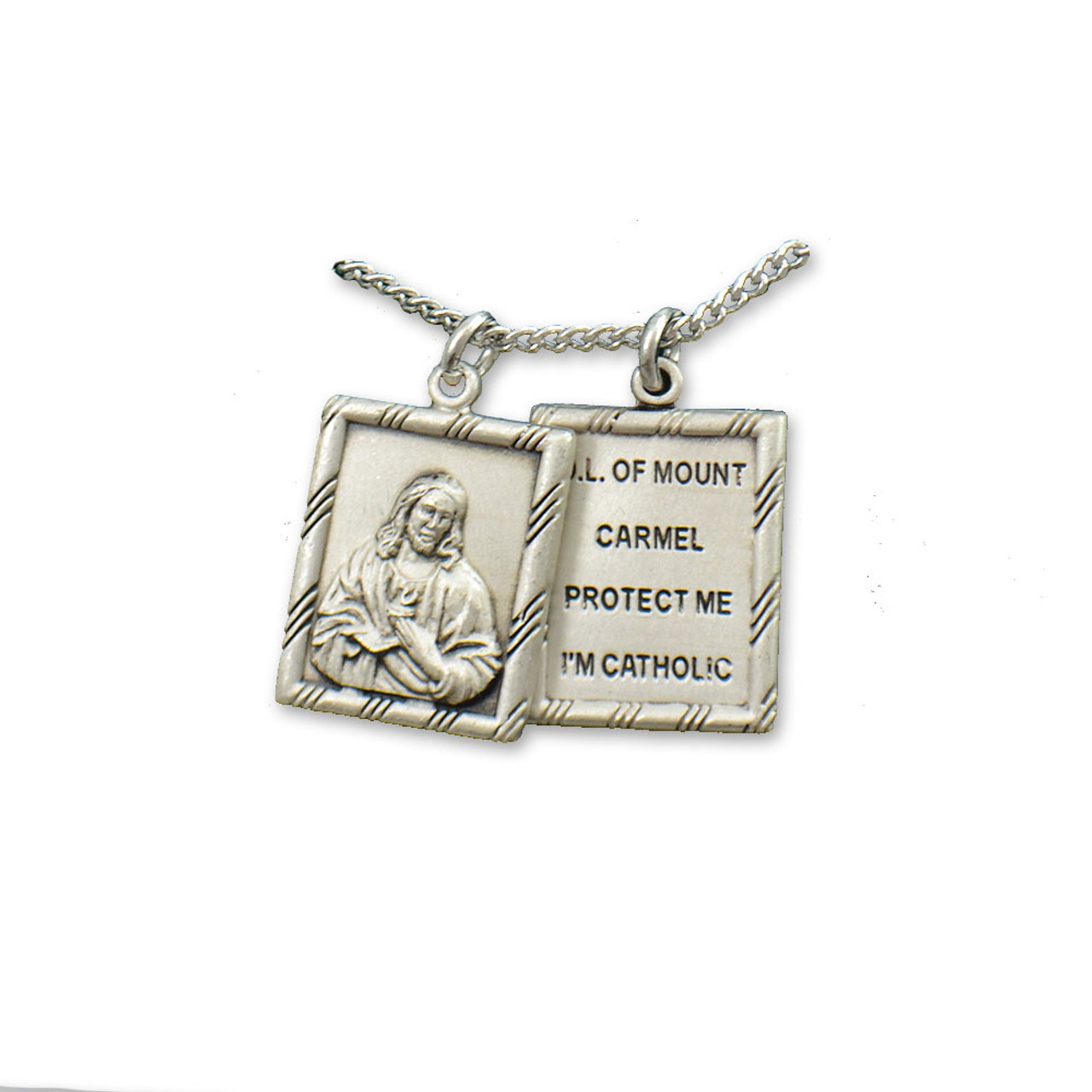 Sterling 2 Piece Scapular Medal 18IN Chain