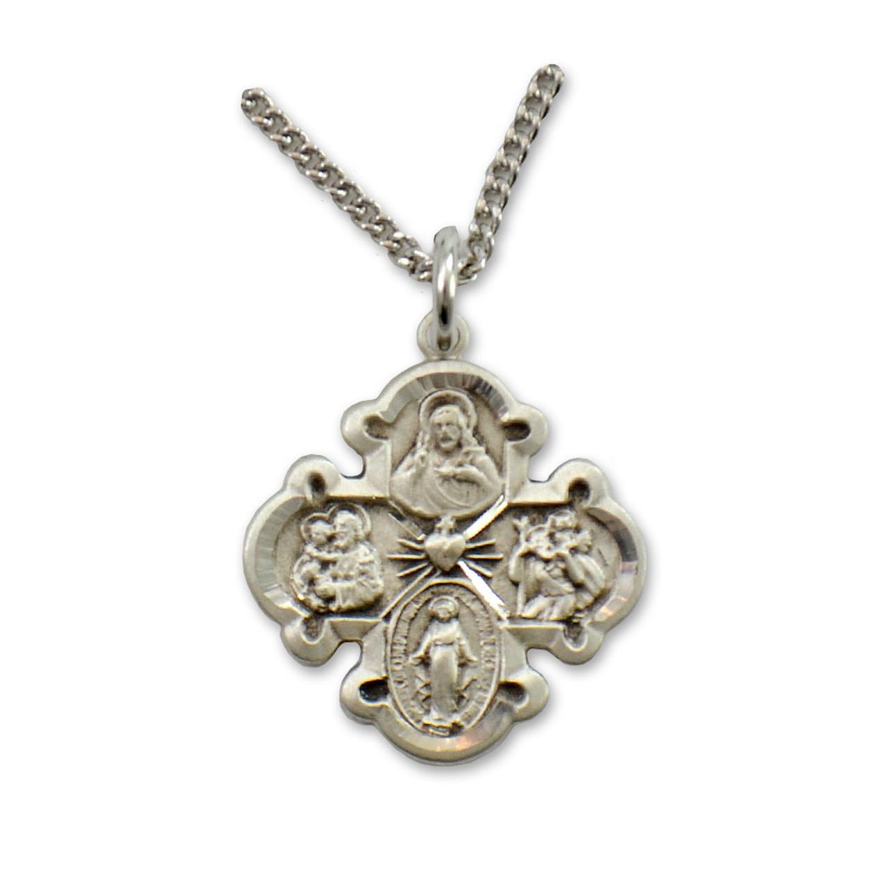 Silver 4-Way Cross 20IN Chain