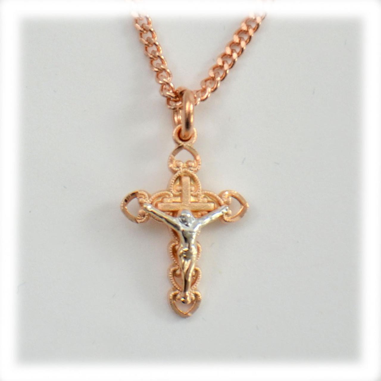 Rose Gold Crucifix 18IN Chain