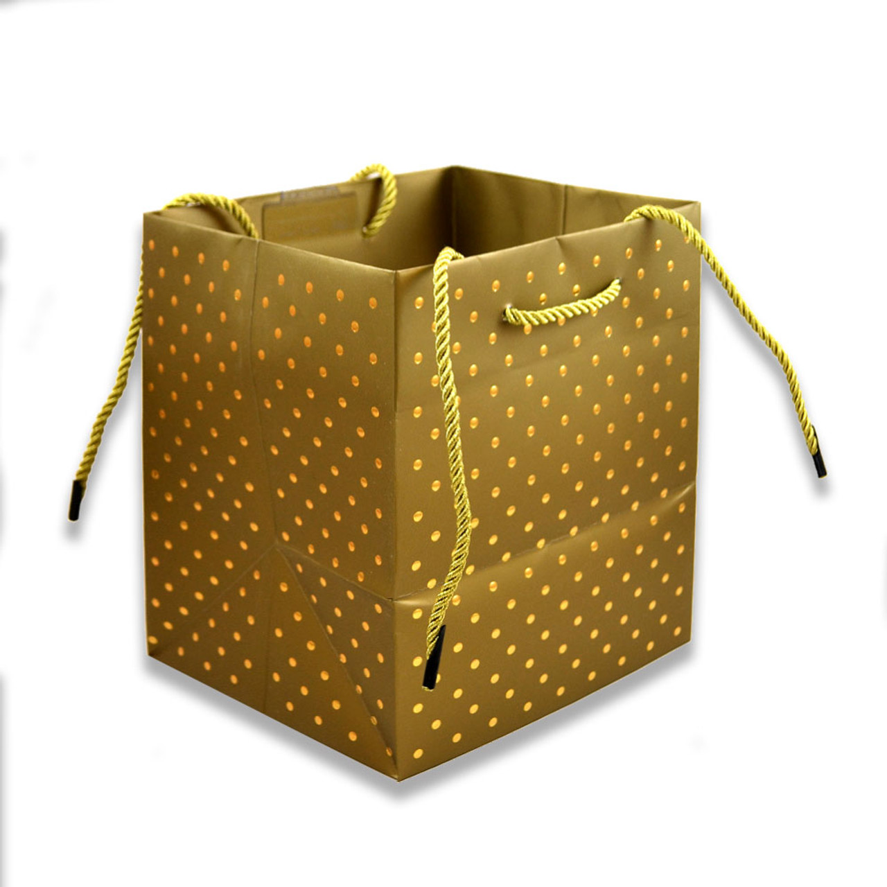 Gold Swiss Dots Square Gift Bag 5x7;IN