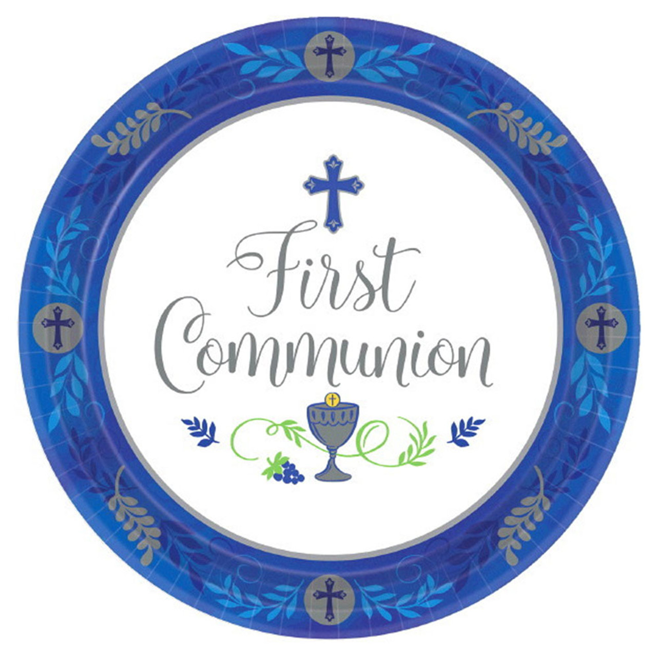 Blue 10IN Plate First Communion