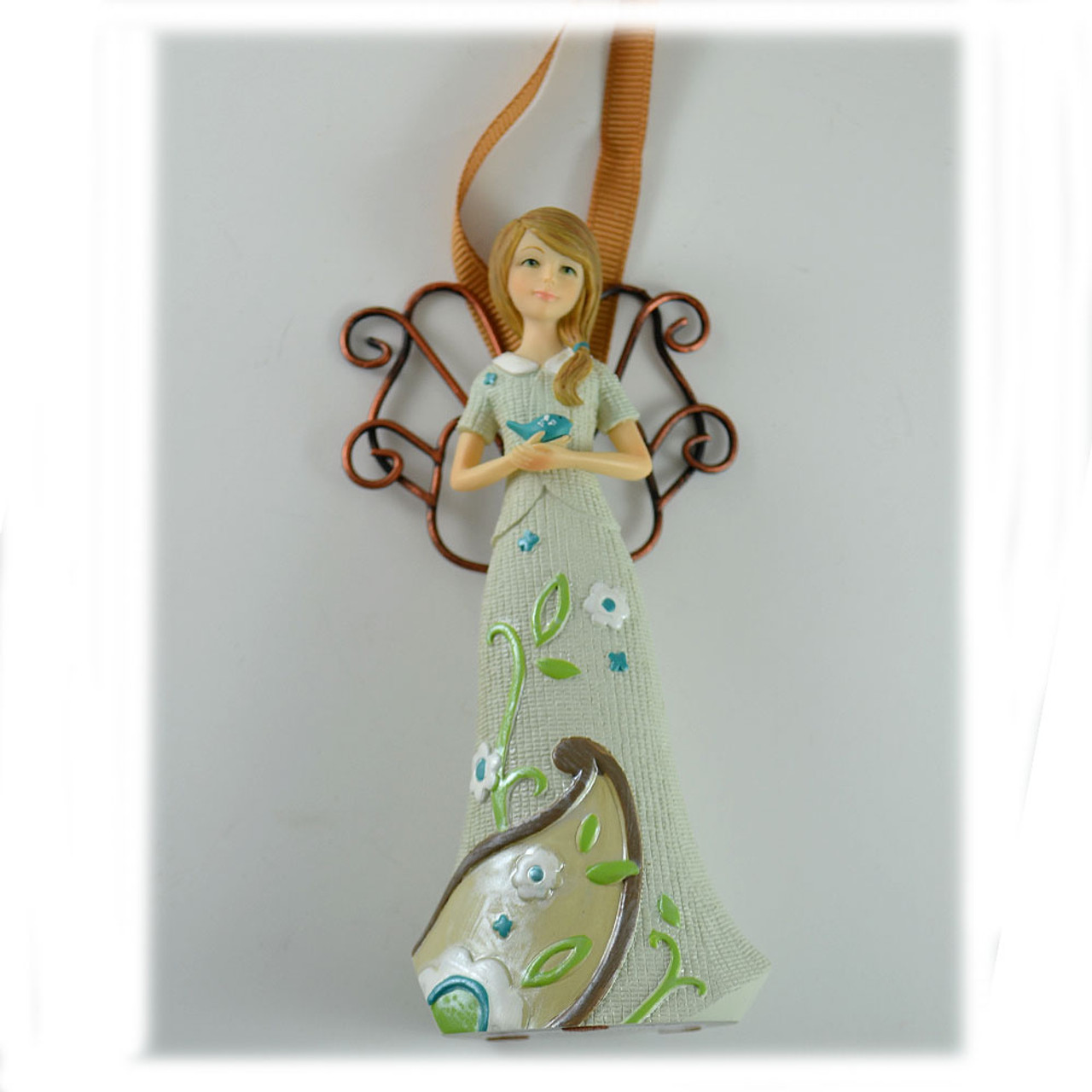 Angel with Bird Peace Ornament 4.5IN