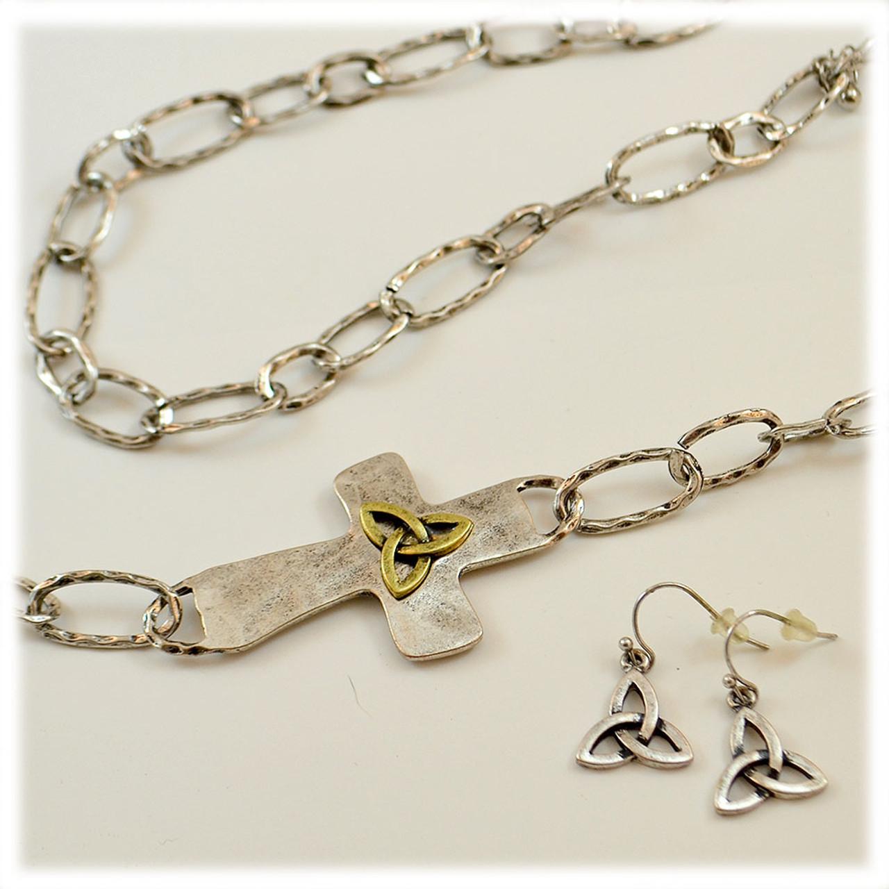 Trinity Cross Necklace & Earring Set