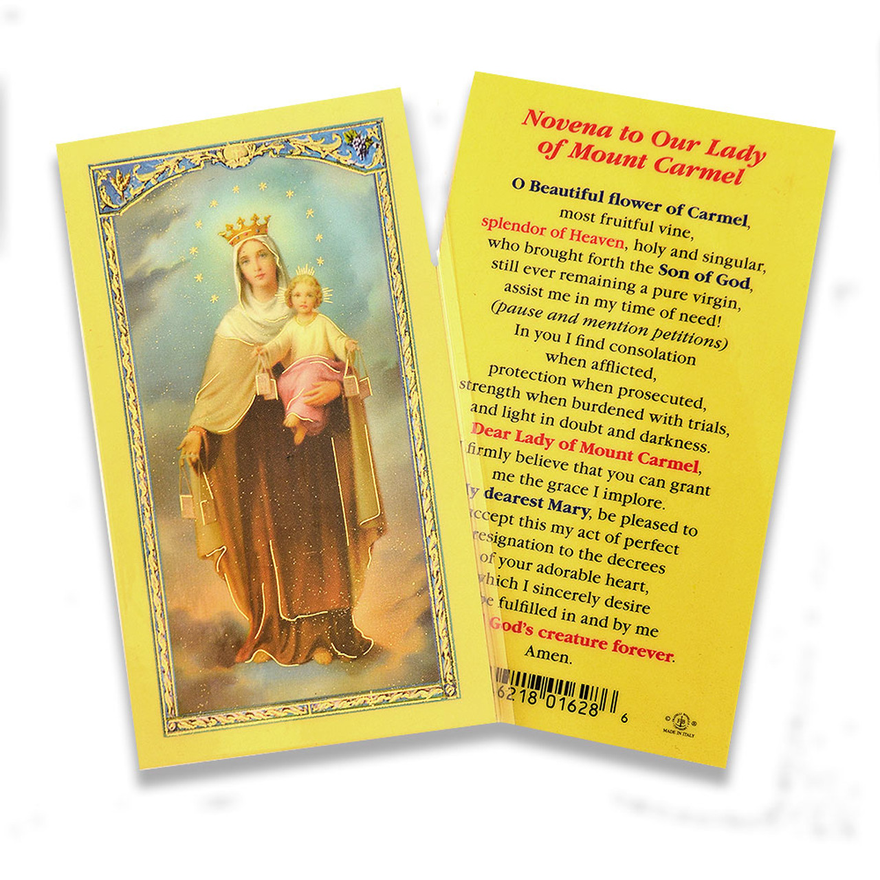 Our Lady of Mt Carmel Holy Card Laminated