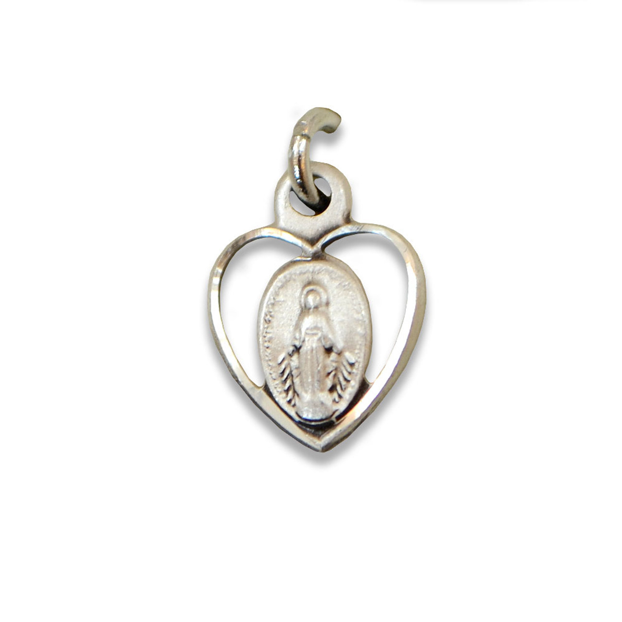 Miraculous Medal in Heart Charm, Sterling Silver