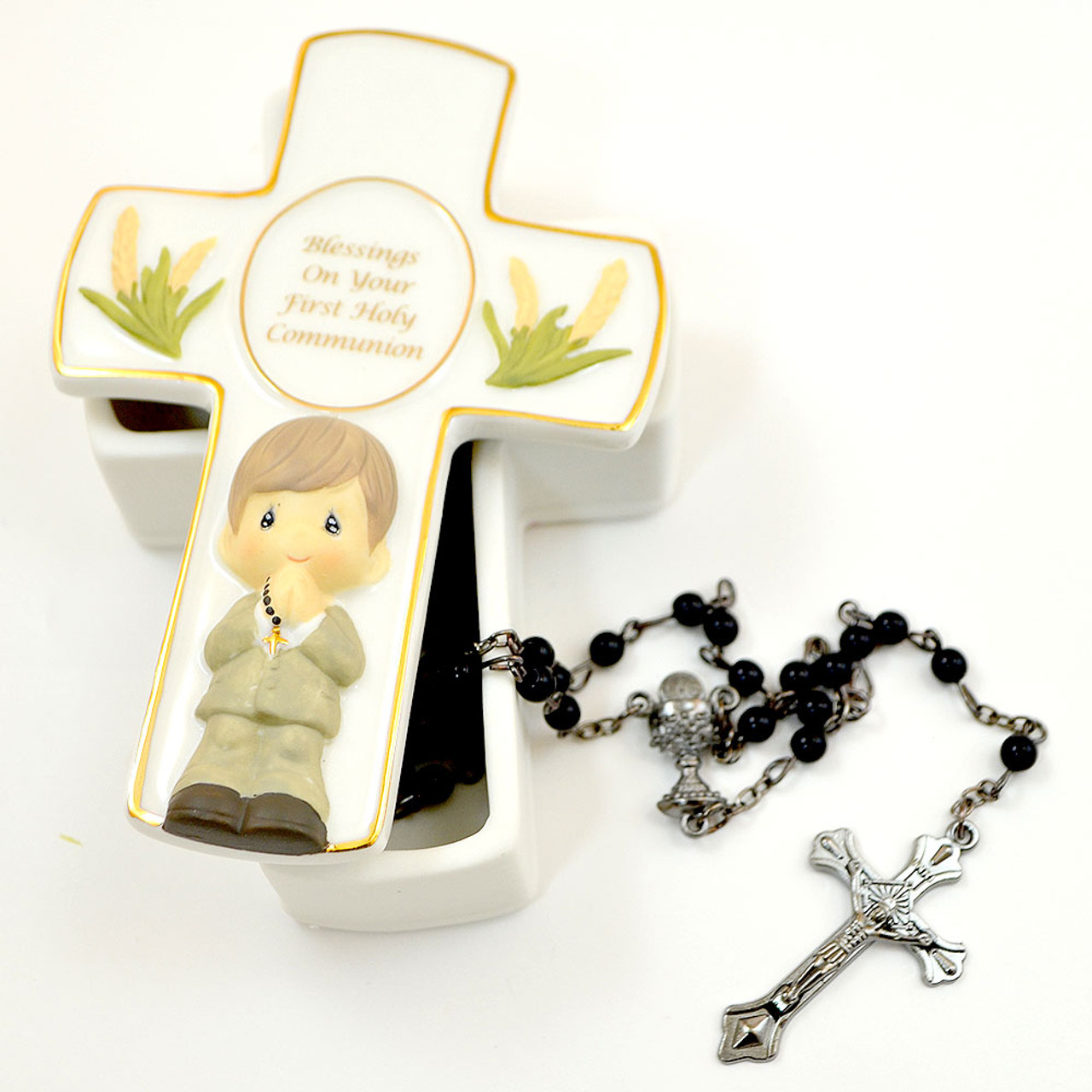 PM Cross Box With Boys Rosary