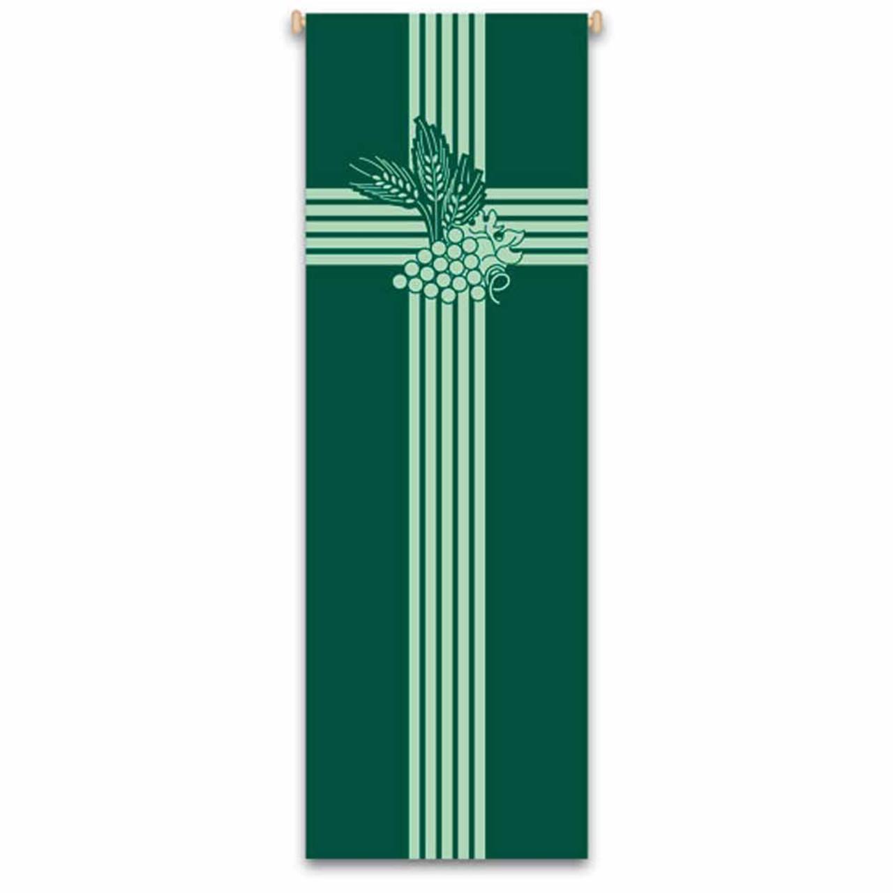 7114 Eucharist Banner w/Wheat and Grapes Design