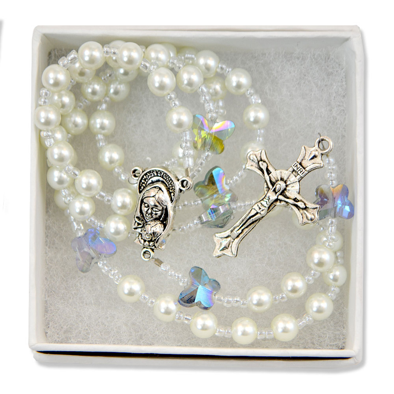 White Rosary with Blue Butterflies