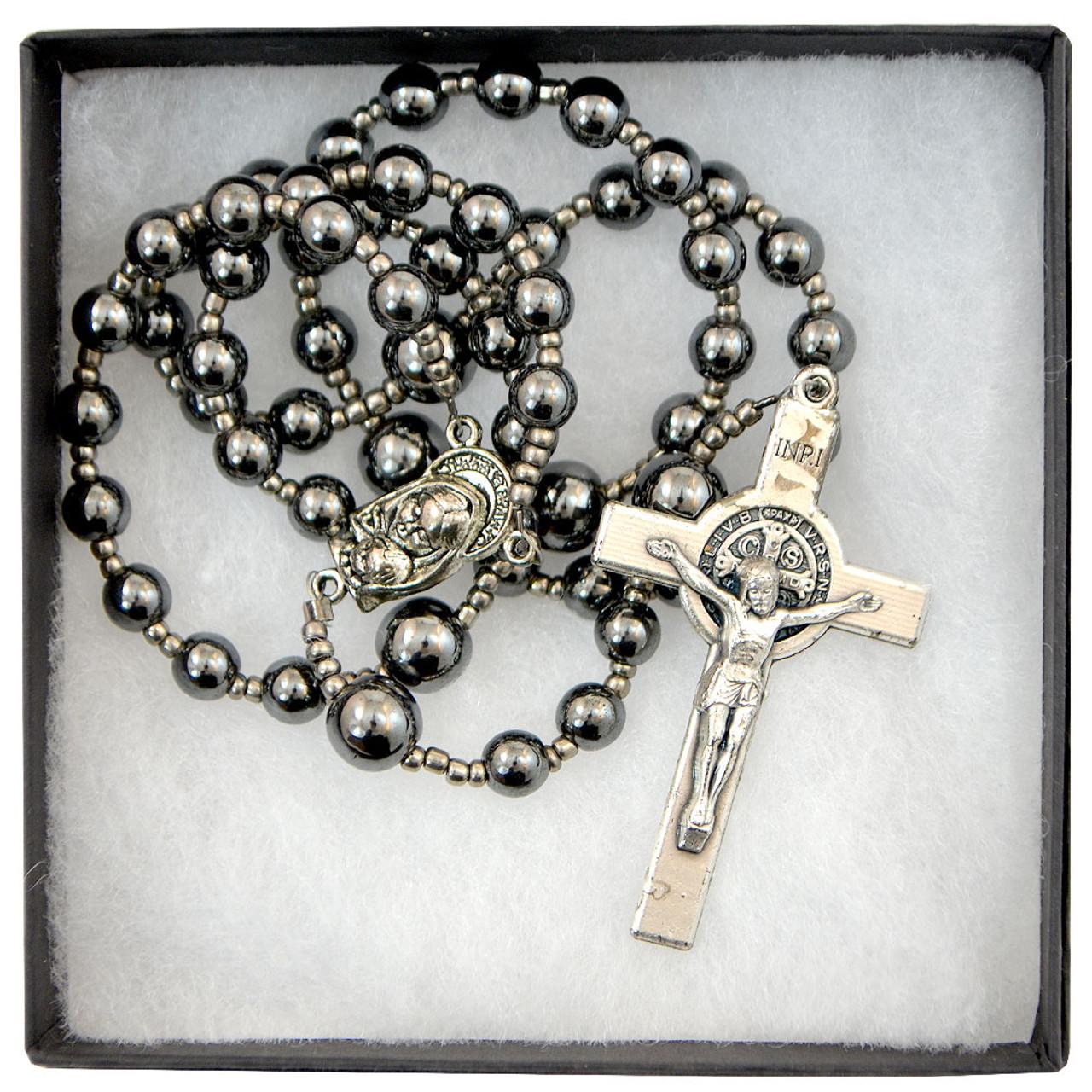 Hand beaded Hematite Rosary
