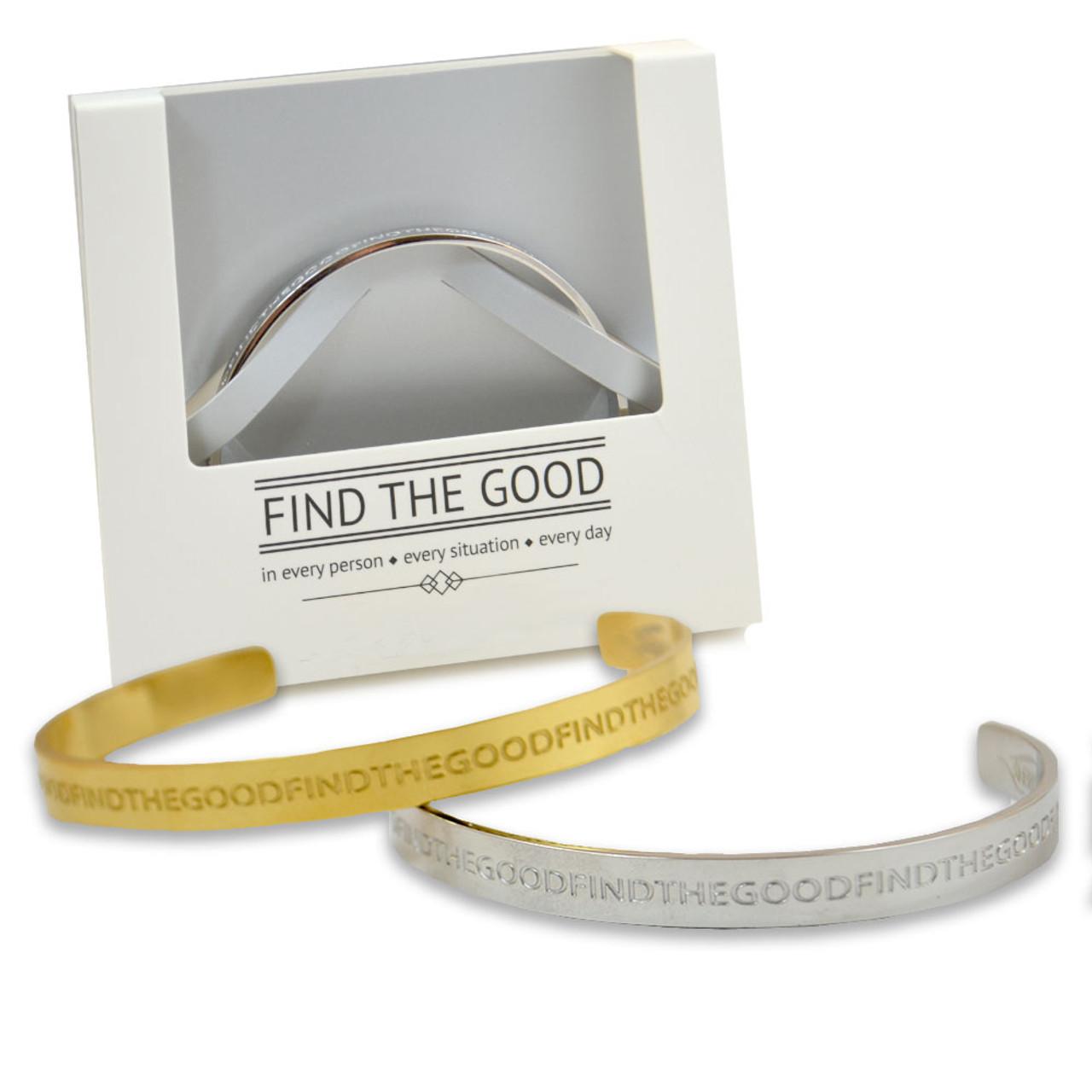 """""""Find the Good"""" Metal Bracelets"""