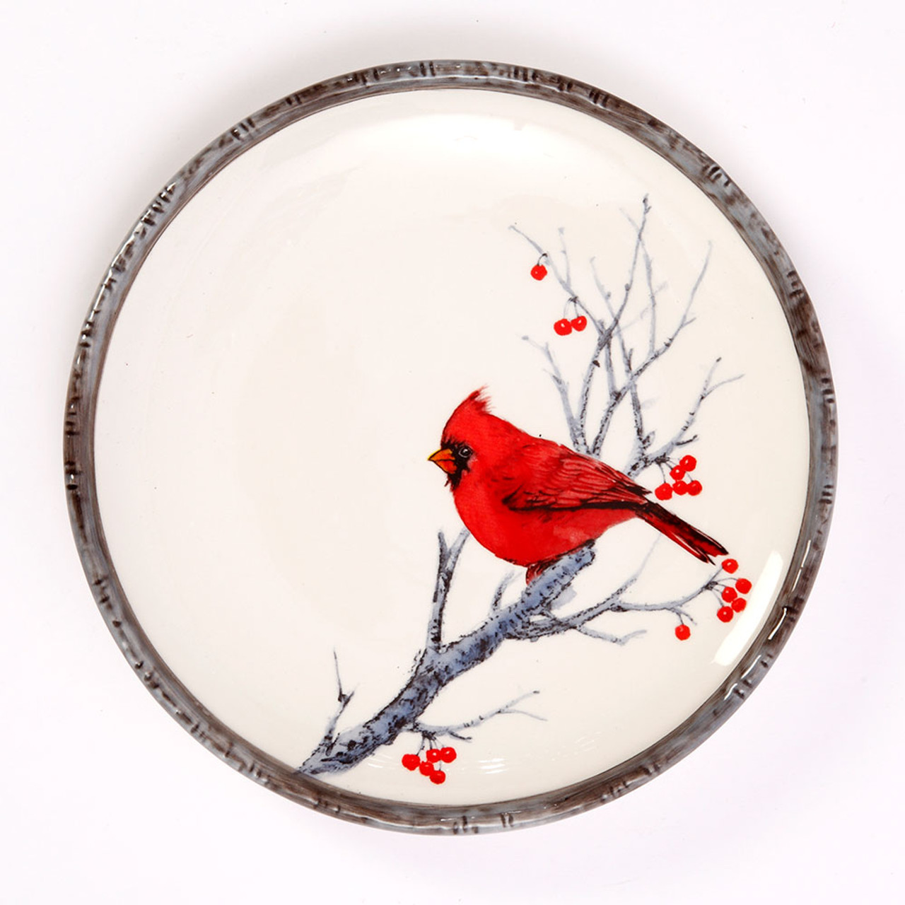 Cardinal on Branch Round Plate 8IN