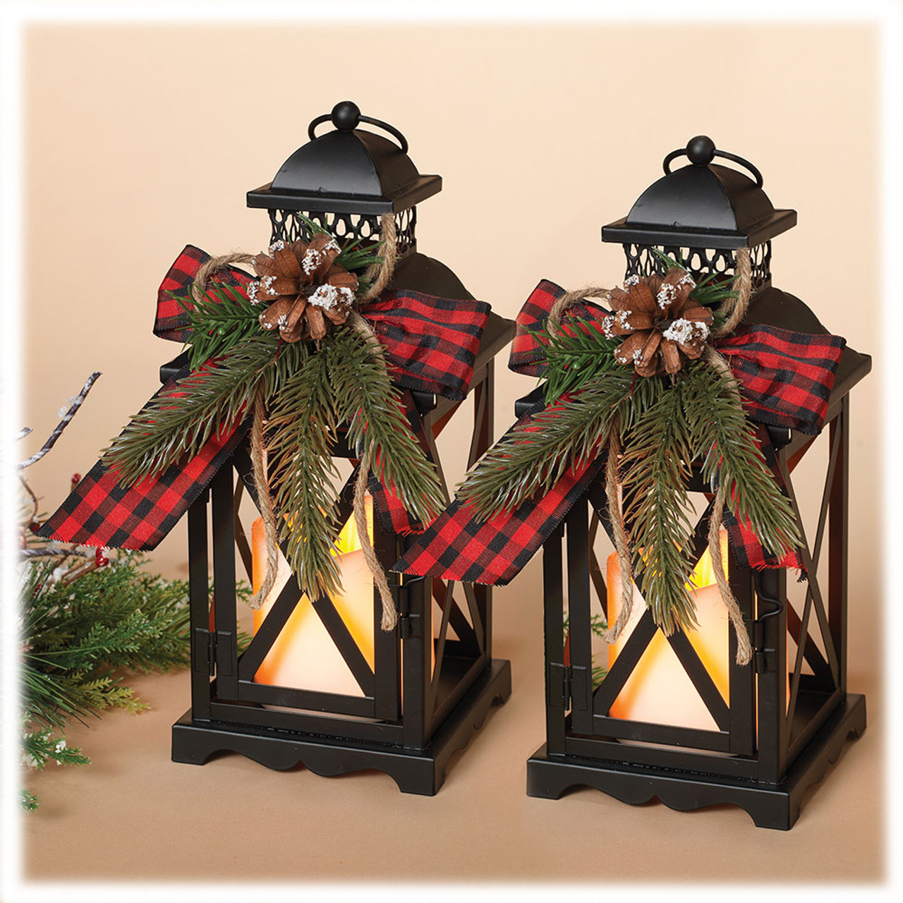 Christmas Metal Lanterns Set of 2