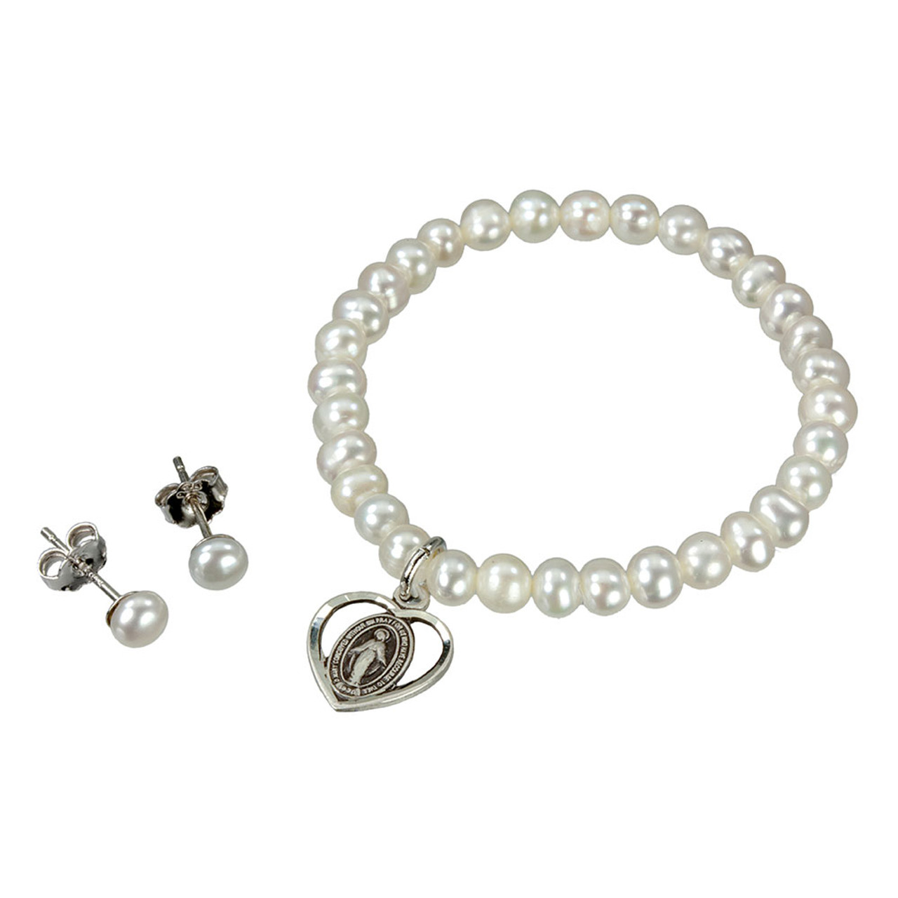Pearl Bracelet and Earring Set Boxed