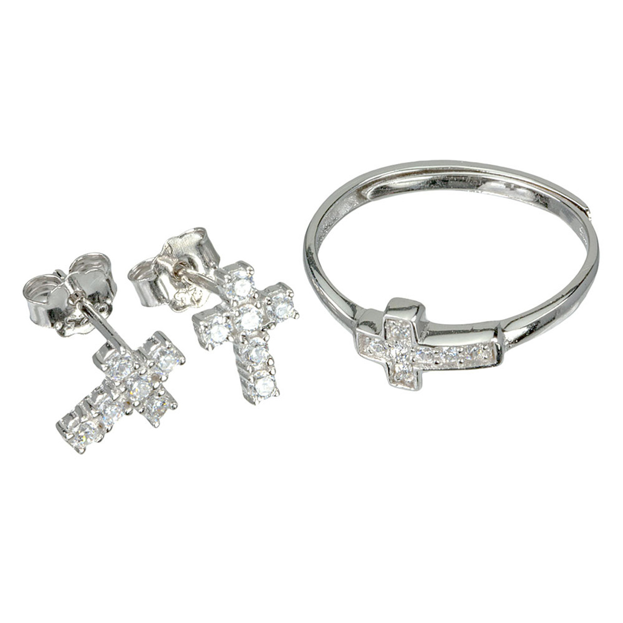 Cross Earring and Ring Set SS