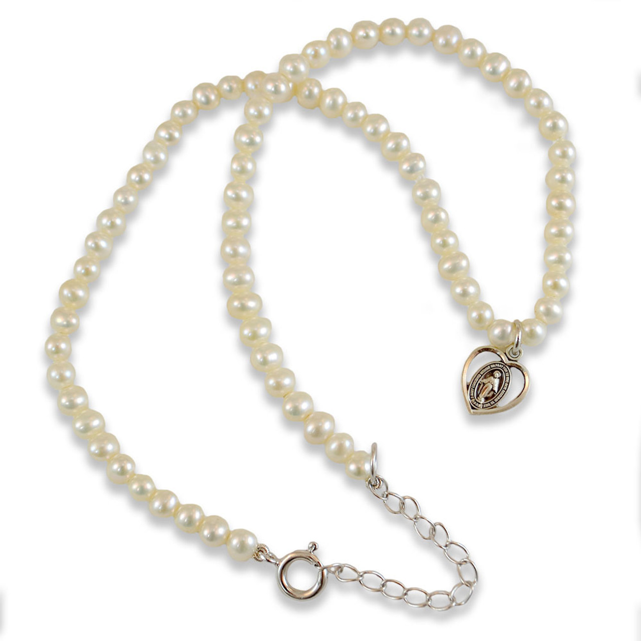 Pearl Necklace with Miraculous Medal