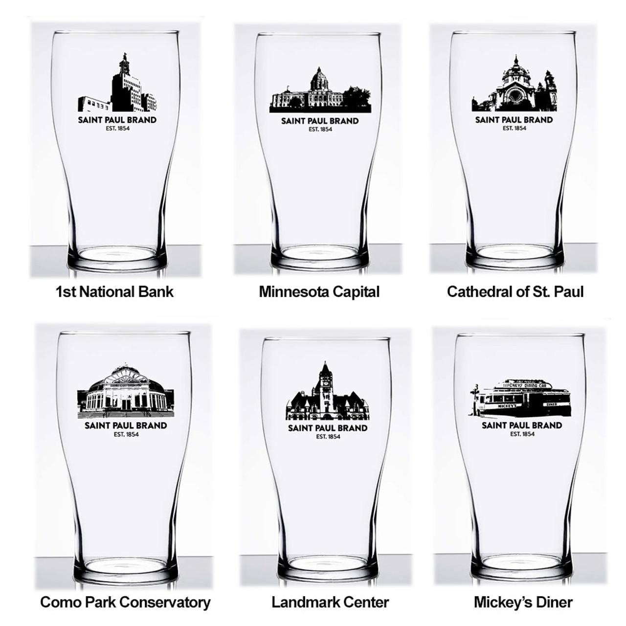 St. Paul Minnesota Landmark Pub Glass 6/Asst