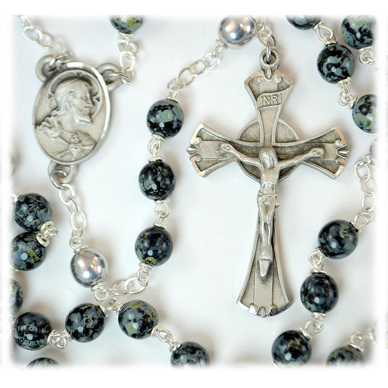 Green & Black Bead Rosary