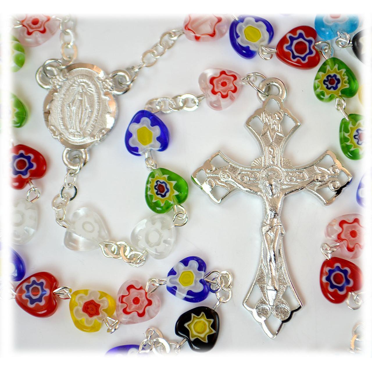 Multi-Color Murano Heart Rosary