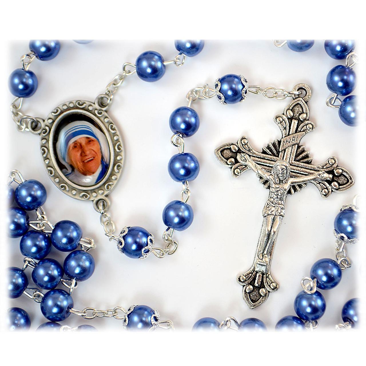 Mother Teresa Blue & Pearl Rosary