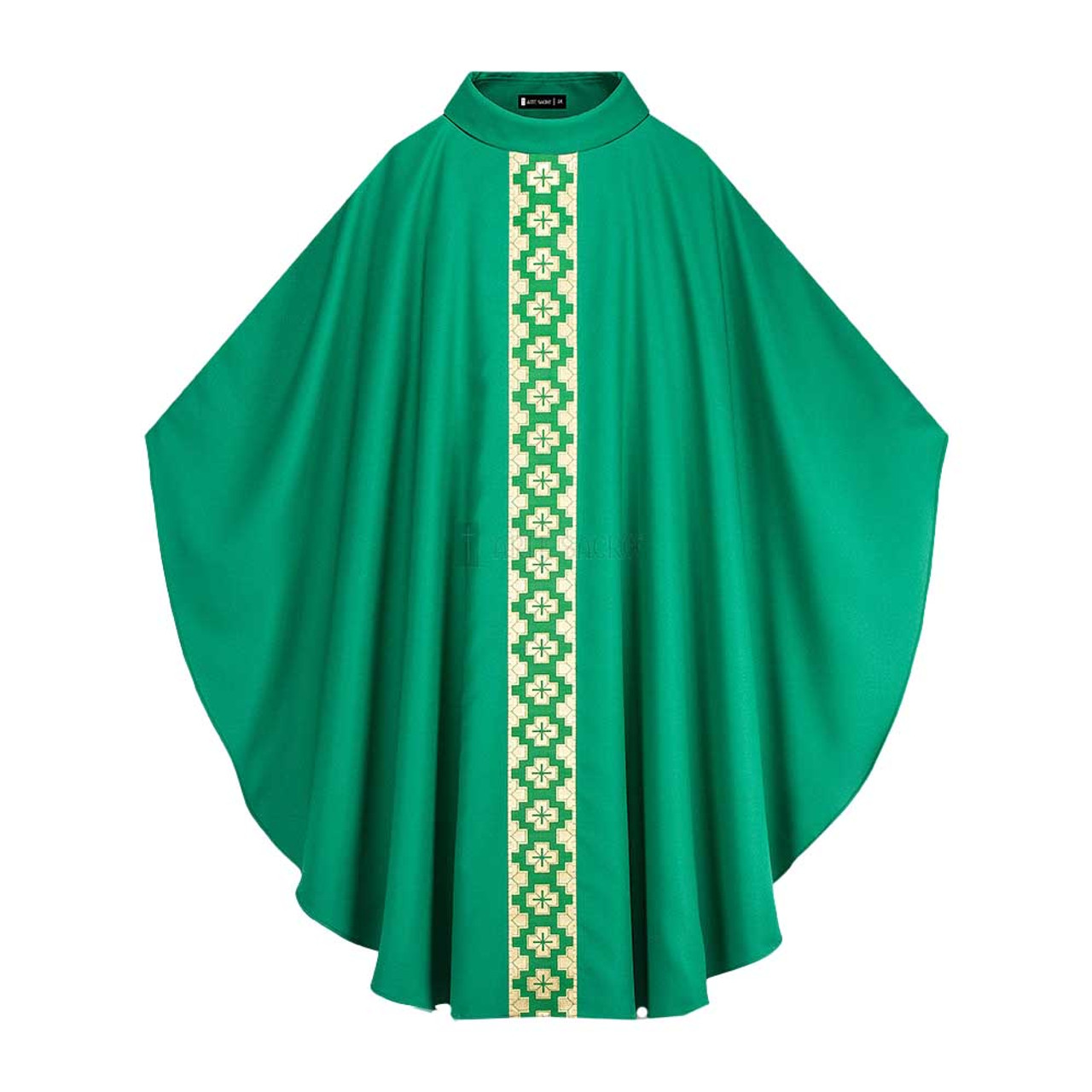Green Way of Salvation Chasuble with Roll Collar