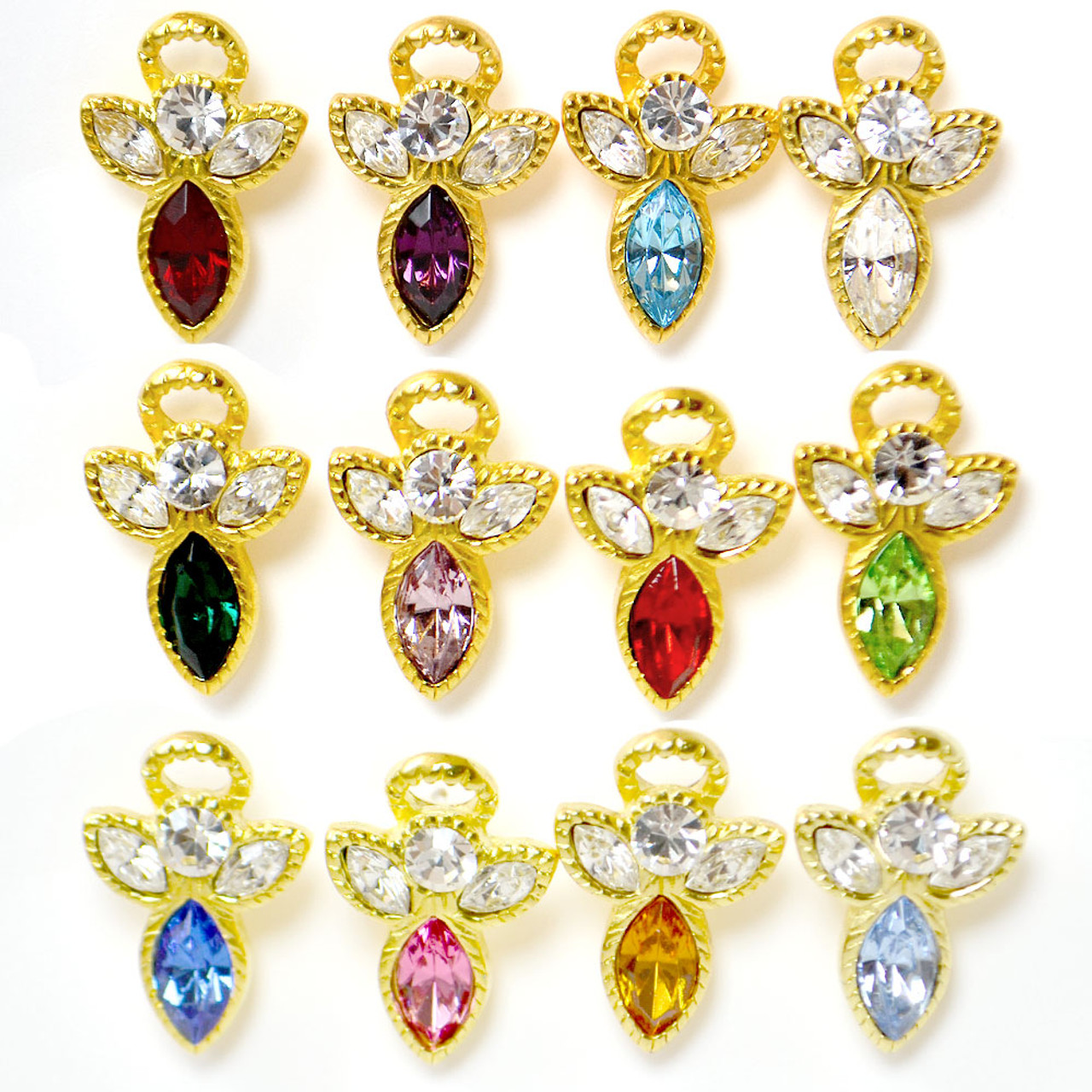 Angel on Shoulder Birthstone Pins