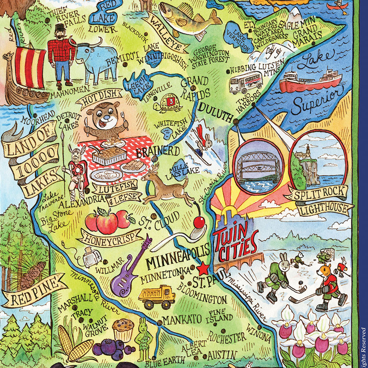 Minnesota Adventure Destination Tea Towel