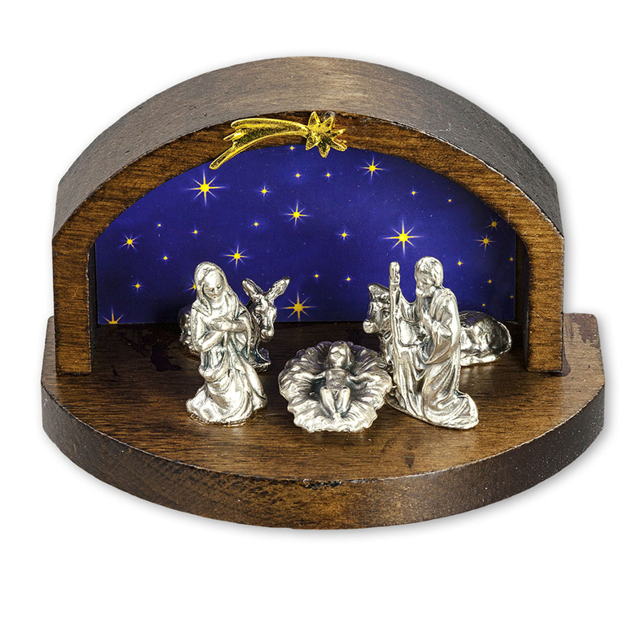 Petite Wood Nativity Scene with Star Background