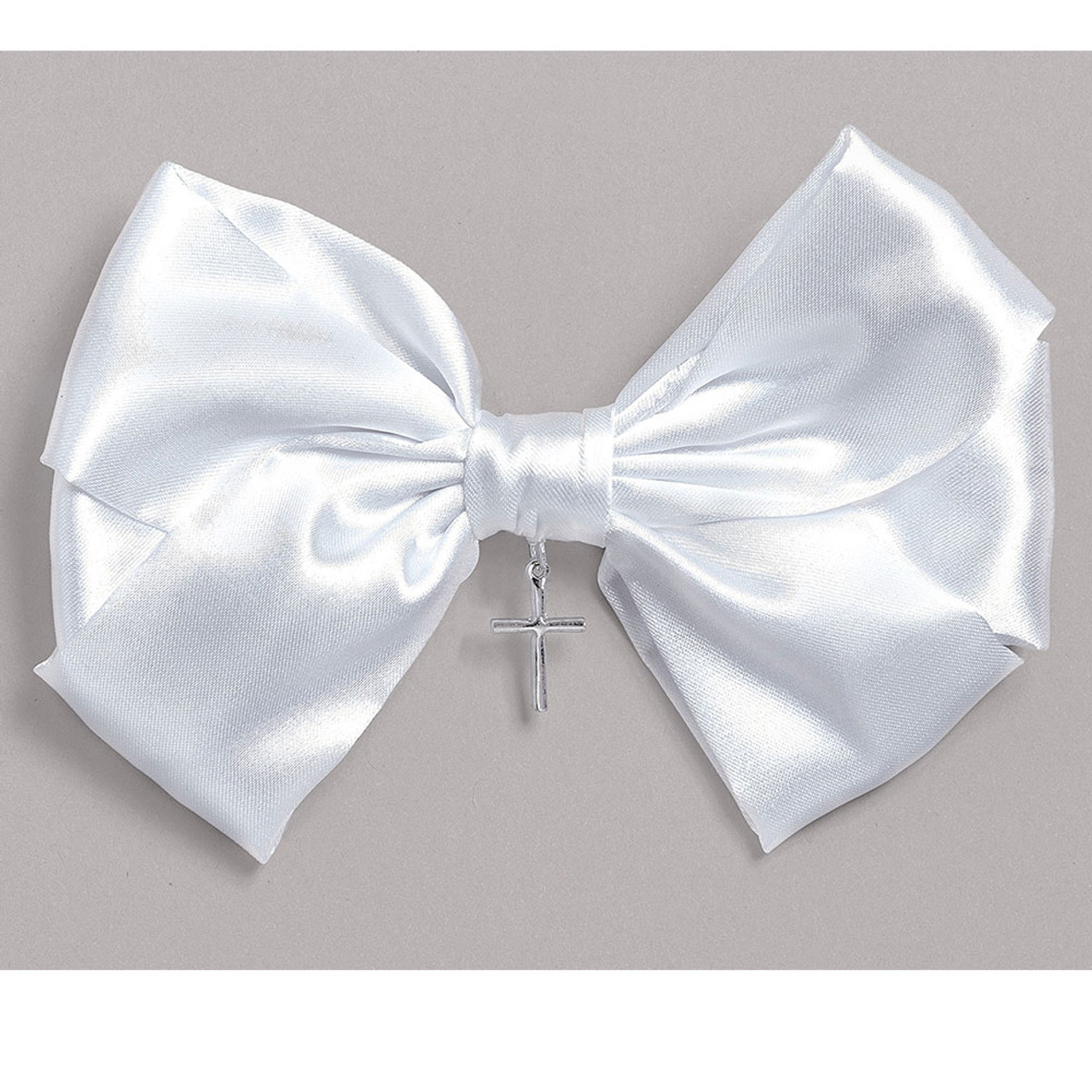 First Communion Hair Bow with Cross