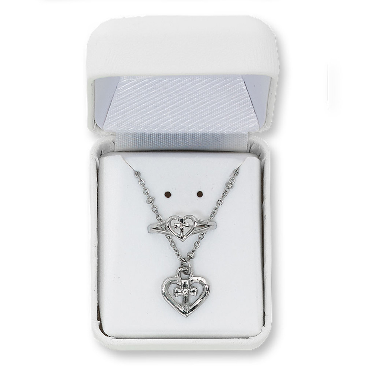 Cross in Heart Pendant and Ring Set