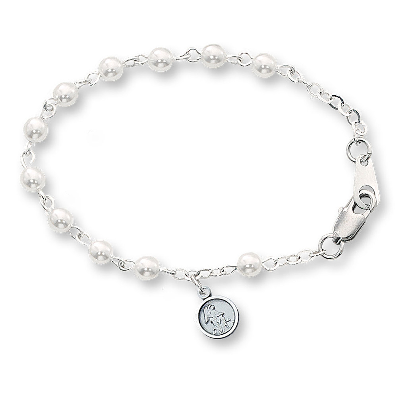 Guardian Angel Bracelet White and Silver