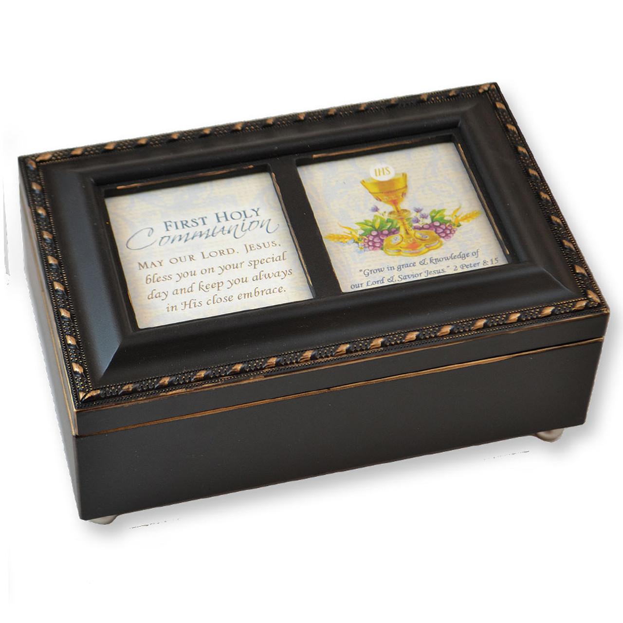 Black First Communion Keepsake Music Box