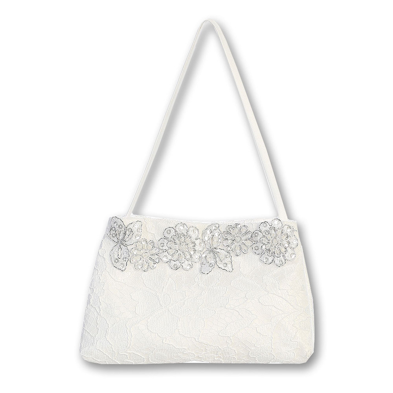 First Communion Purse with Silver Floral Trim