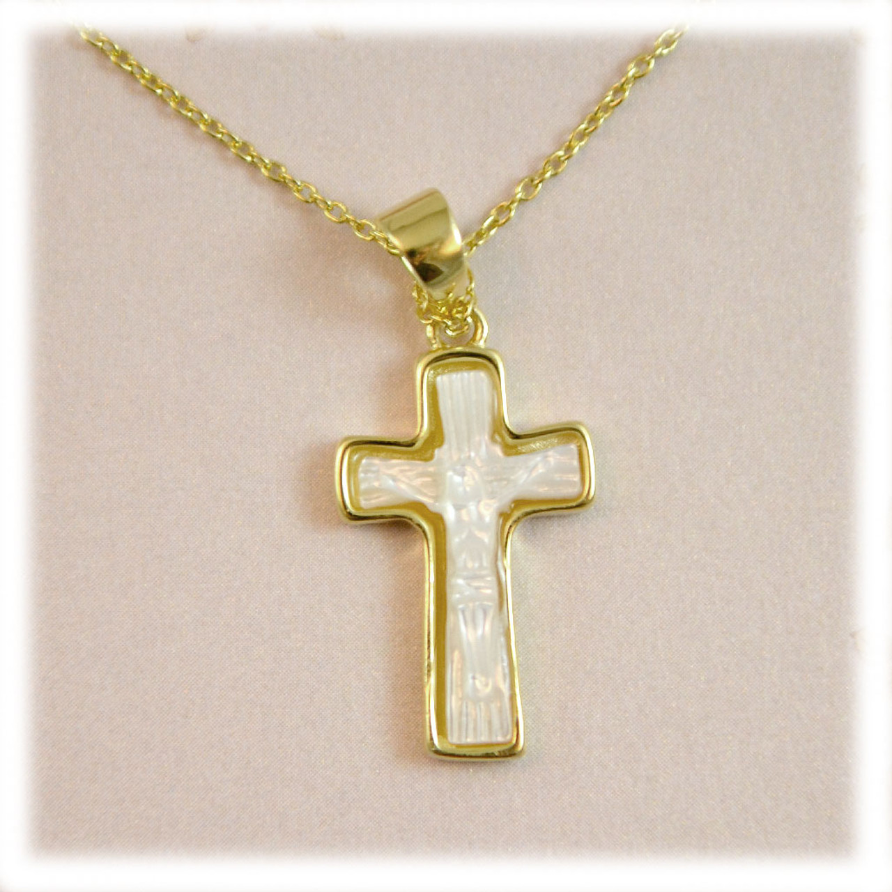Sterling or Gold Shell Cross Necklaces 18IN