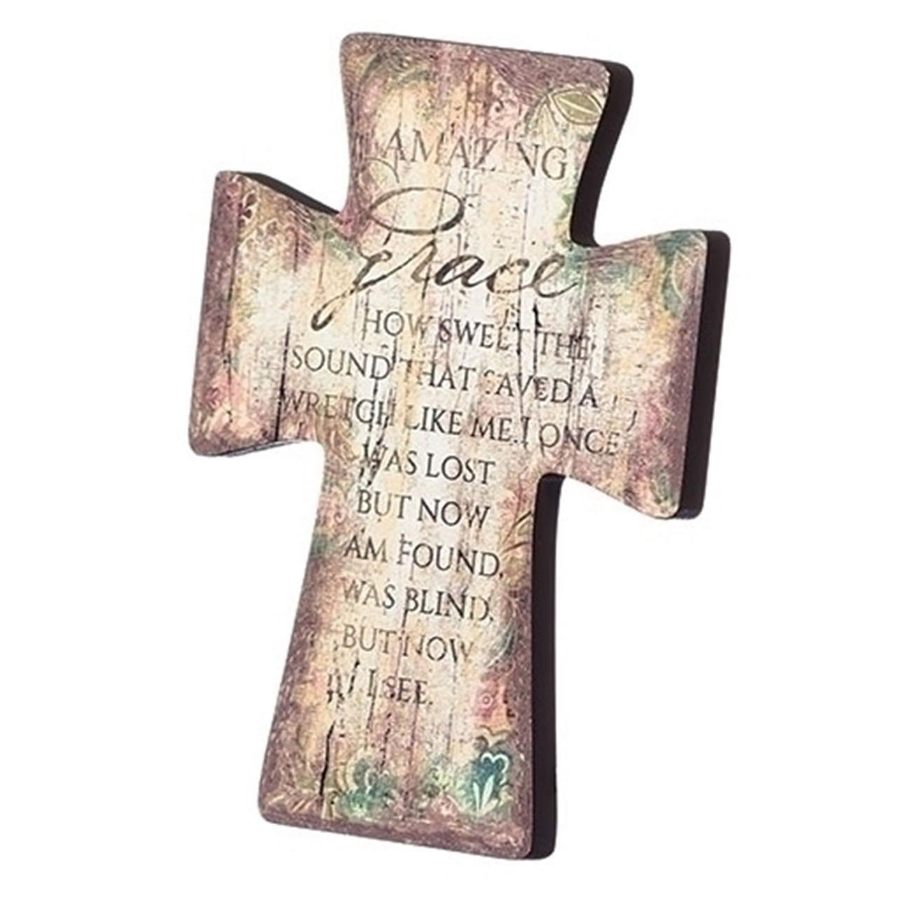 Amazing Grace Cross Wall Plaque 6 IN