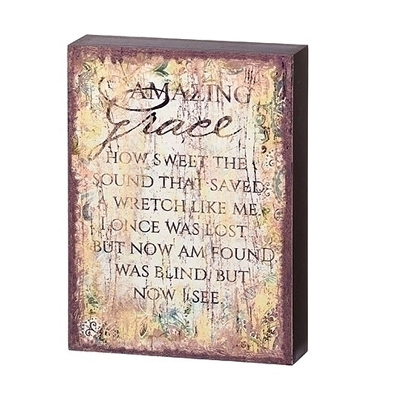 Amazing Grace Rectangular Wall Plaque 7.75 IN