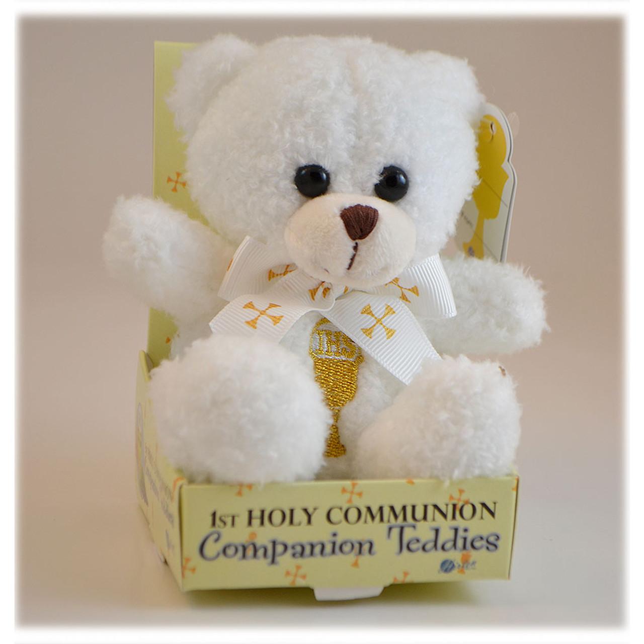 First Communion Teddy Bear White