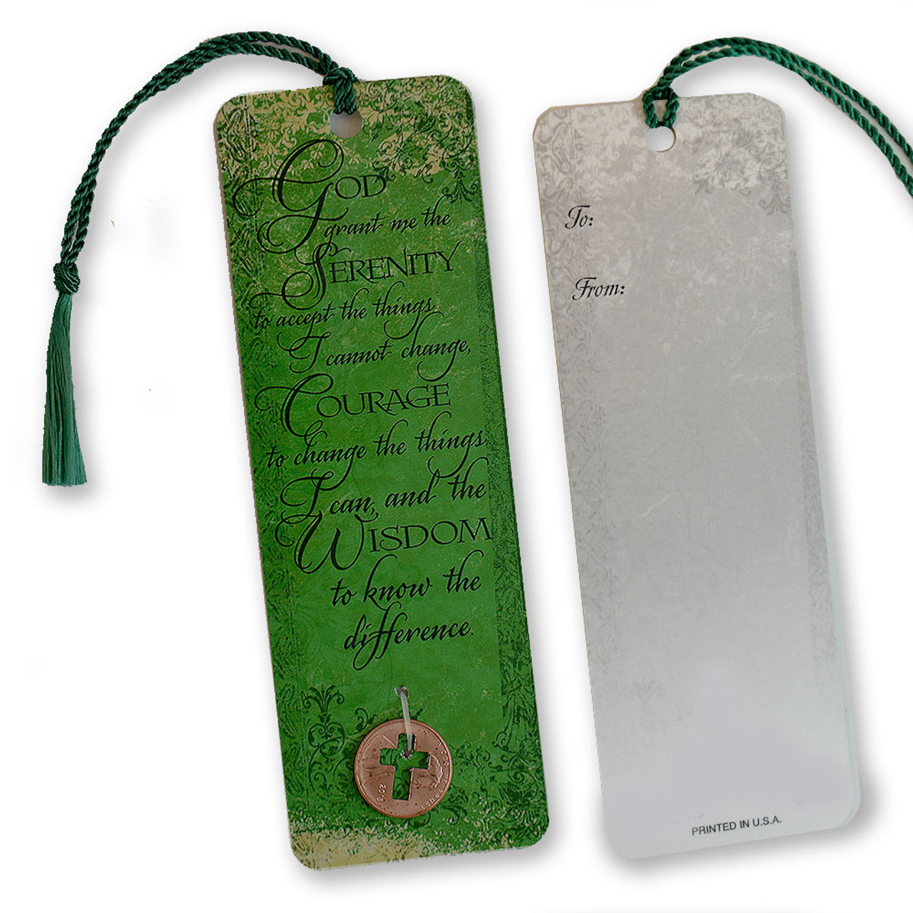 Serenity Bookmark with Cross Cutout Coin