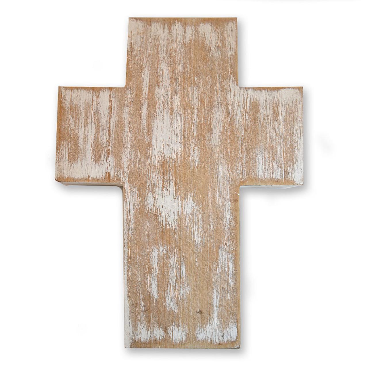 """Whitewashed Wood Cross 12"""""""