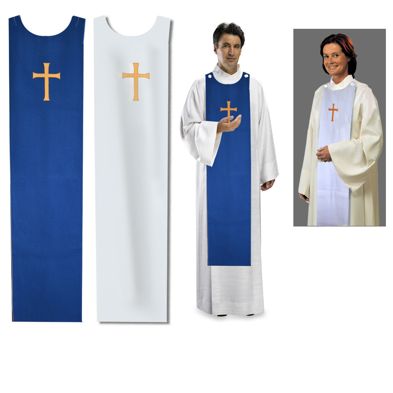 Reversible Blue/White Choir Stoles with Gold Cross
