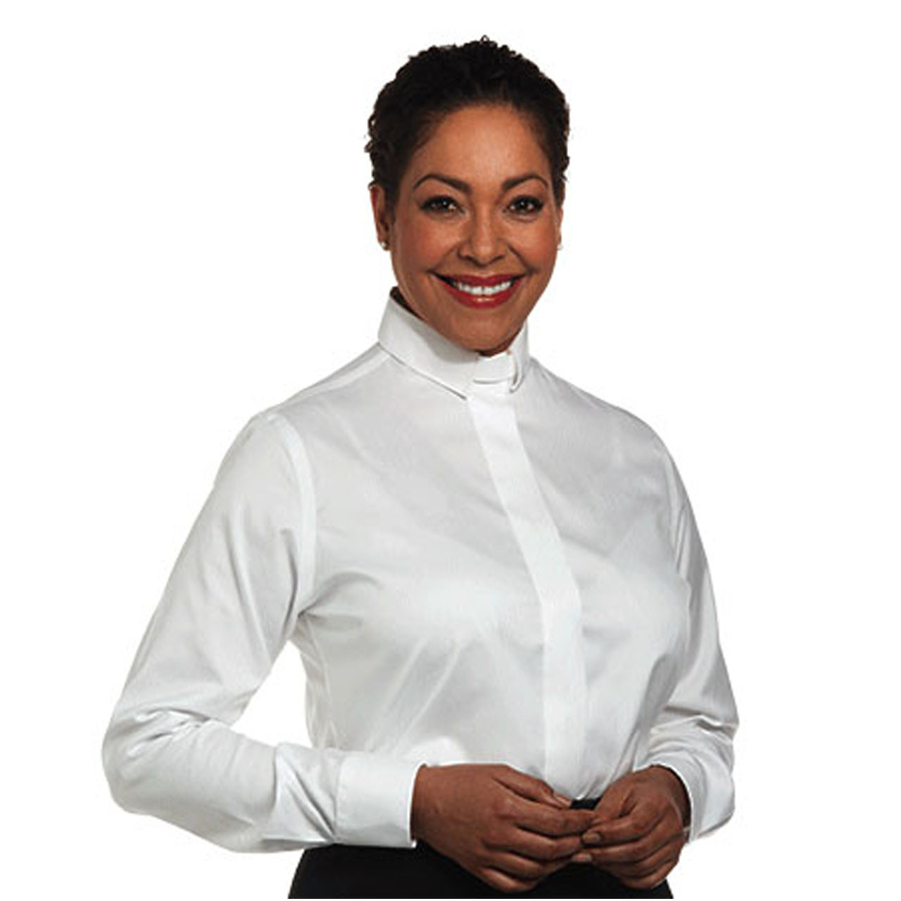 SW-111 LS White Clergy Blouse
